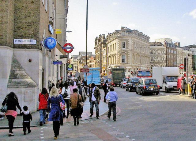 Borough High Street at entrance to London Bridge Underground station, 2006