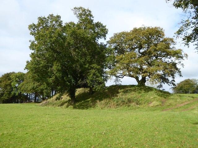 Earth embankment at Cadbury Castle hill fort