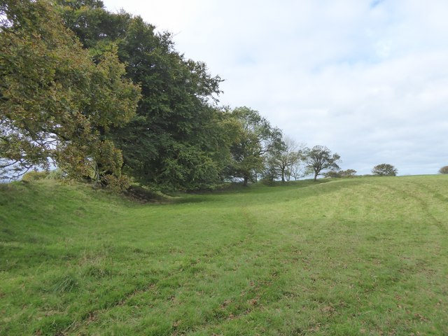 Curved wall of Cadbury Castle hill fort