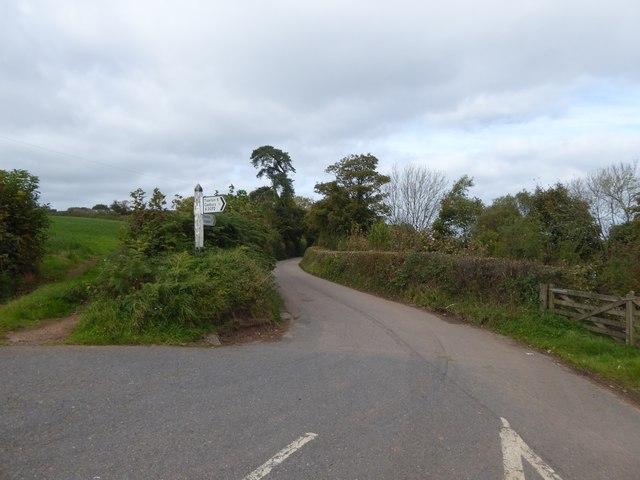 Road to Cheriton Fitzpaine from Cheriton Cross
