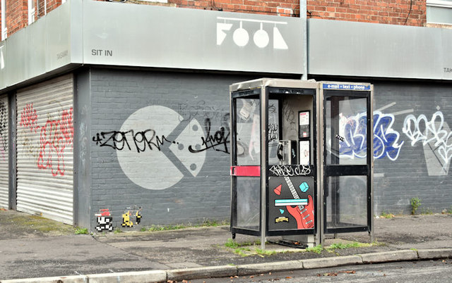 Telephone boxes, Carmel Street, Belfast (October 2017)