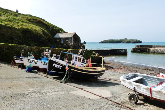 Boats on the slipway at Mullion Harbour, Cornwall