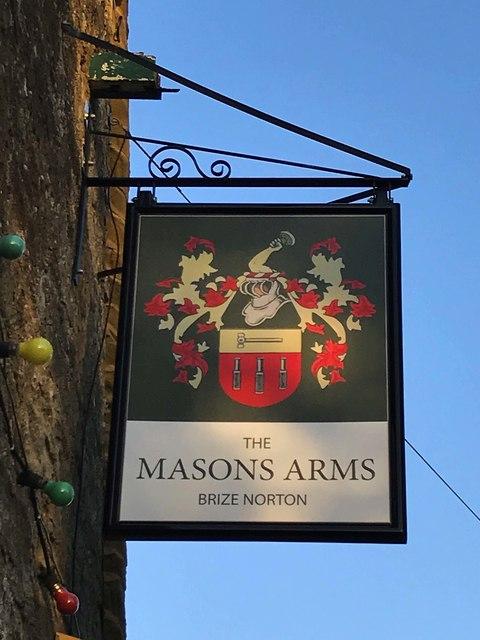 Masons Arms (3) - sign, Burford Road, Brize Norton, Oxon