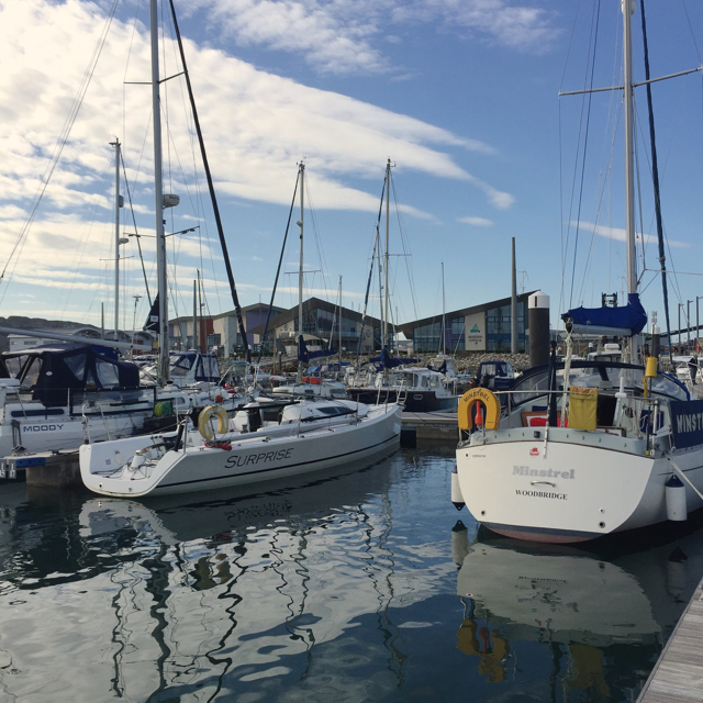 View to shore facilities, Portland Marina