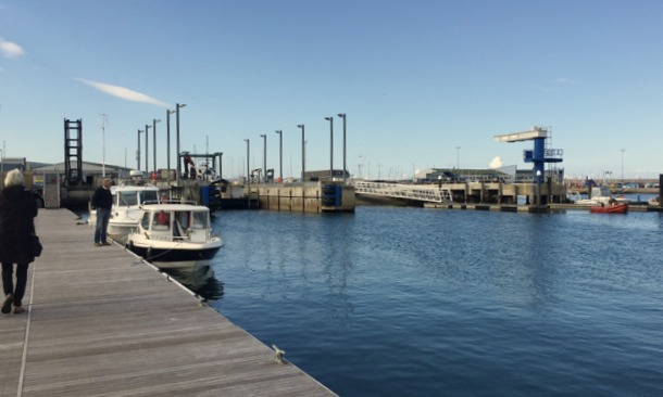 Three boat lifting bays, Portland Marina