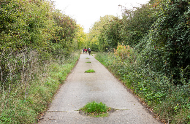 Concrete road on route of old railway