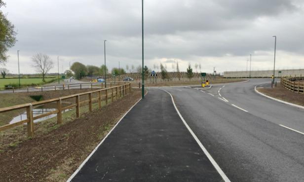 New roundabout near the Jaguar Land Rover site, Fen End