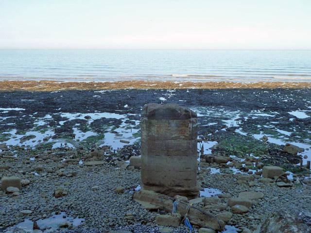 Concrete stump below high tide level