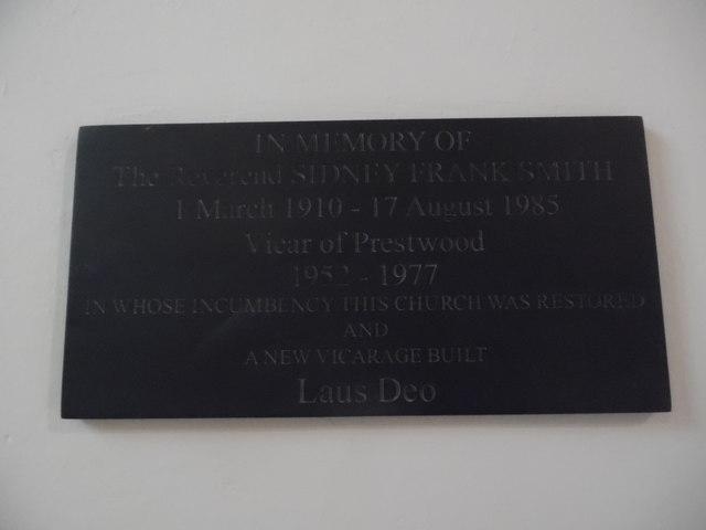 Plaque inside Holy Trinity Church, Prestwood
