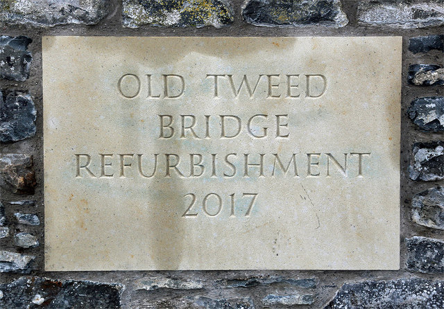 An inscribed stone at Old Tweed Bridge
