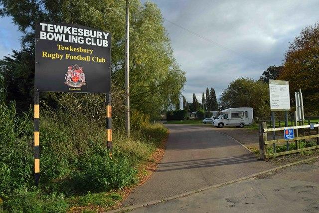 Entrance road to Tewkesbury Bowling Club & Tewkesbury Rugby Football Club, Gander Lane, Tewkesbury, Glos