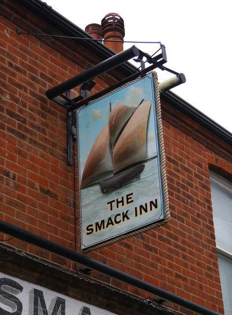 The Smack Inn (2) - sign, 34-36 Middle Wall, Whitstable, Kent