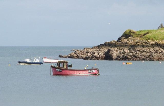 Boats at anchor in Gillan Cove, Cornwall,