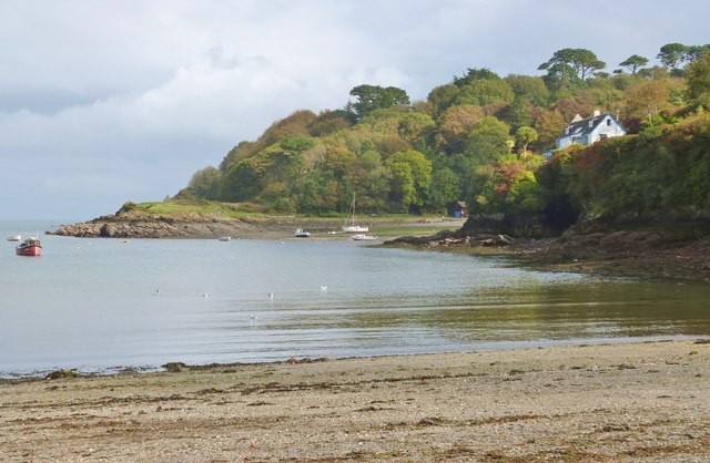 View from the beach at Flushing Cove, and past Gillan Cove to the promontory of The Herra, Cornwall