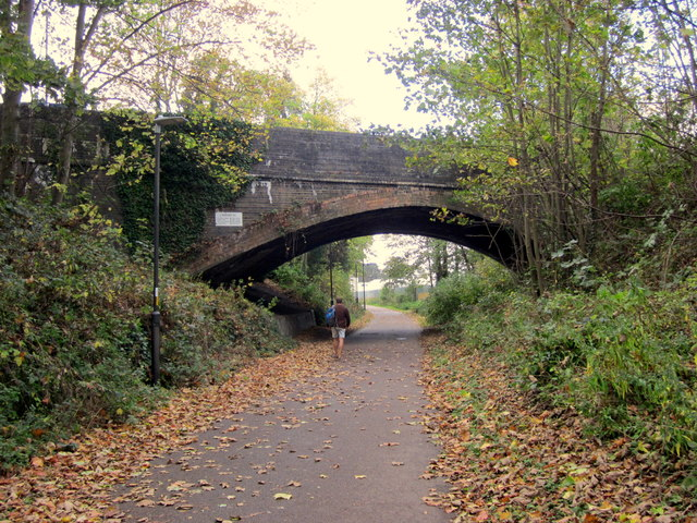 Cheltenham Spa Footpath Cycle Way In Autumn Along Old Railway Trackbed