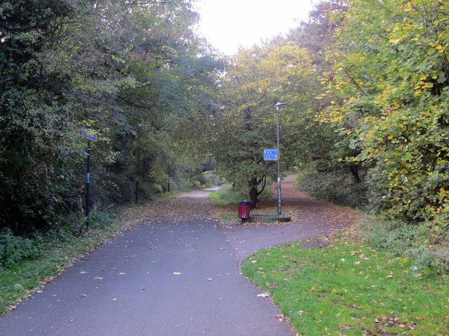 Cheltenham SpaFork in Footpath Cycle Way Along Old Railway Trackbed