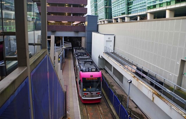 Midland Metro tram no. 09 at Snow Hill, Birmingham