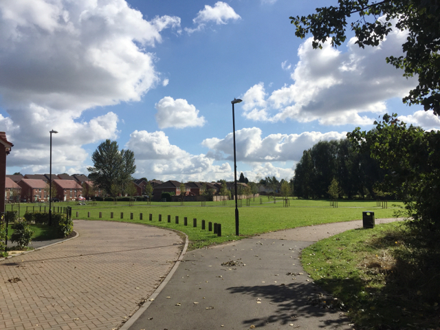 New houses and open space, Wood End, north Coventry