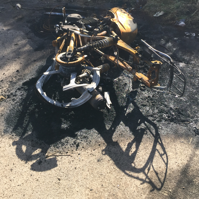 Burnt-out motorbike, Wood End