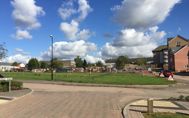 Open space amid redevelopment, Wood End, north Coventry
