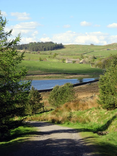 The view down to Upper Black Moss Reservoir
