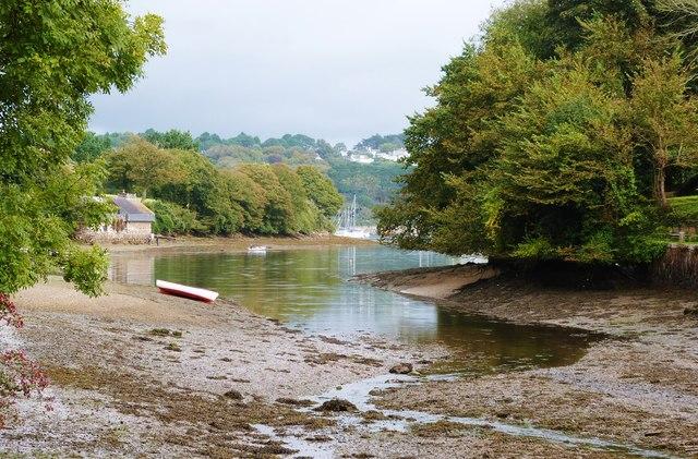 The creek that divides Helford village Cornwall