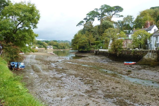 A muddy Helford Creek with the tide out