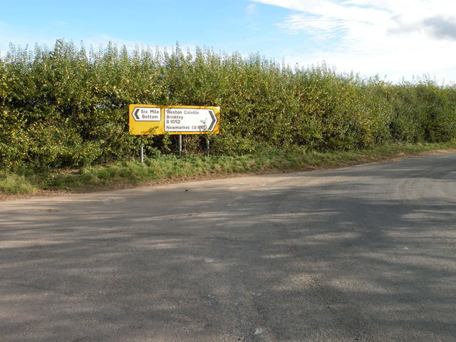 Road junction near Weston Colville