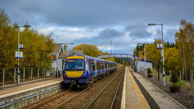 Awaiting north bound service at Carrbridge