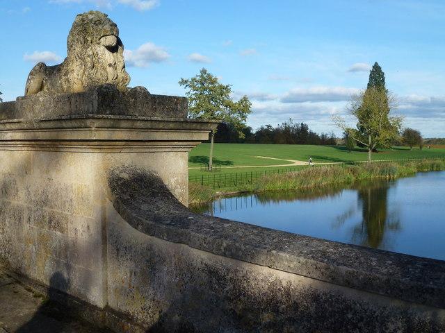 Monumental lion on The Lion Bridge in Burghley Park