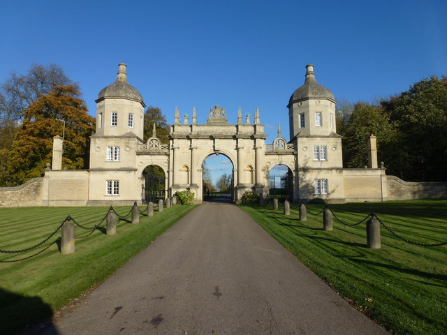 The main entrance to Burghley House near Stamford