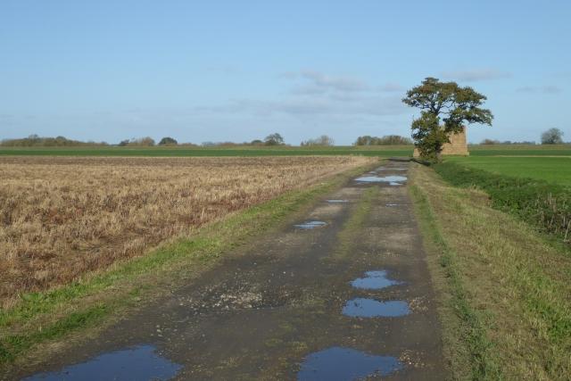 A puddle filled Ings Lane