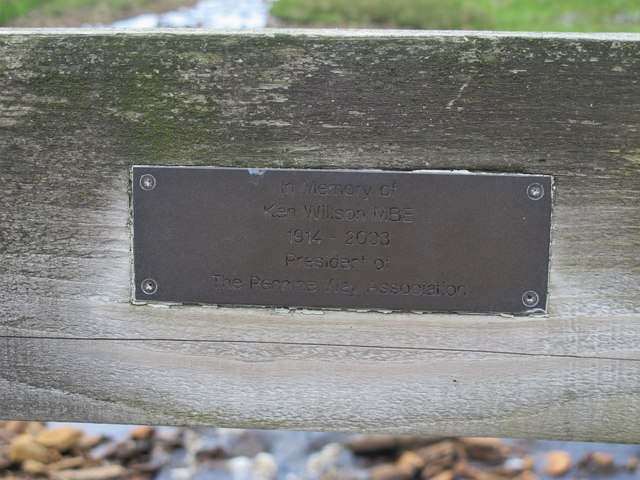 Memorial plaque on the footbridge over Maize Beck by Dobson Mere Foot