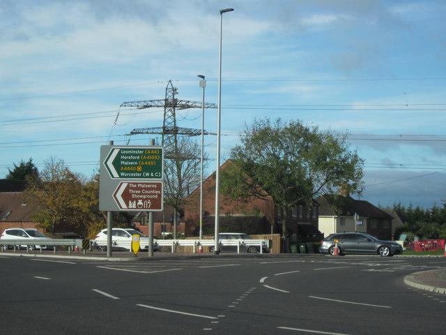 A4440 Traffic Island With Electricity Pylon