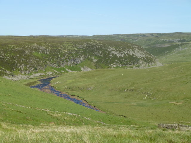 Maize Beck and the River Tees west of Falcon Clints