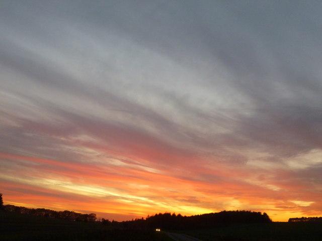 Sunset over Massingham Heath in Norfolk