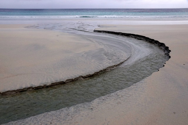 Burn draining the Loch of Sandwick on Easting beach
