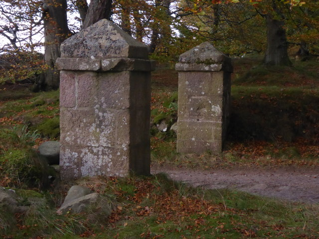 Stone gateposts at exit from Midmar Kirk carpark