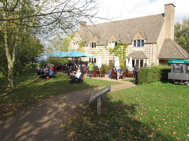 Outdoor seating at Snowshill Manor cafe