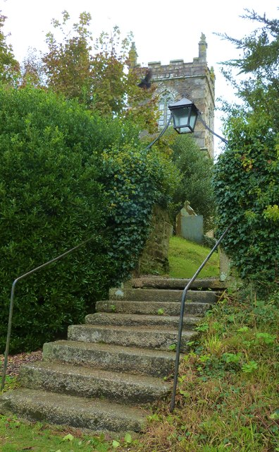 Steps up to the churchyard of St. Manaccus church, Manaccan