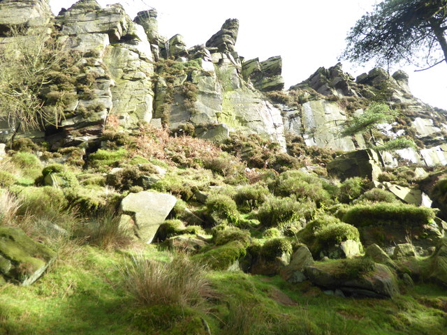 Looking up at The Roaches