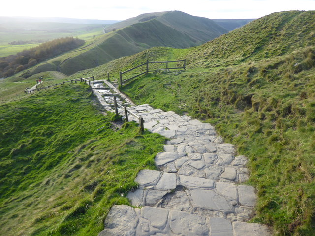 Steps down from the summit of Mam Tor