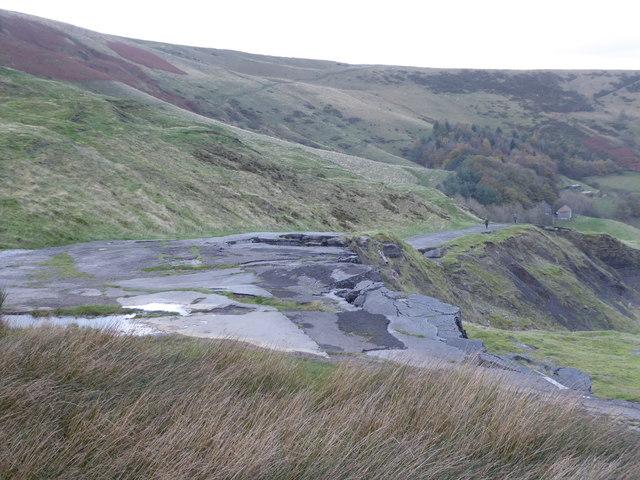 The broken road below Mam Tor