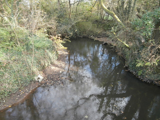The Afon Clun at Rhiwsaeson, looking east