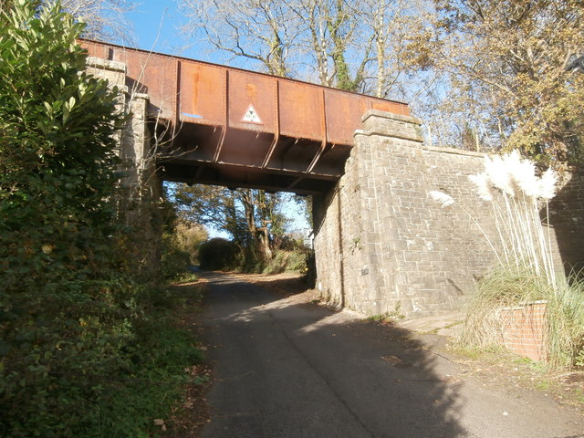 Disused railway bridge over the road, Rhiwsaeson