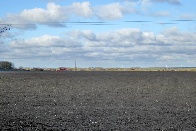 View north over a brown field