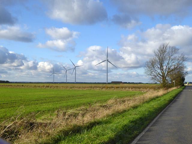 View towards Cotton Farm wind farm
