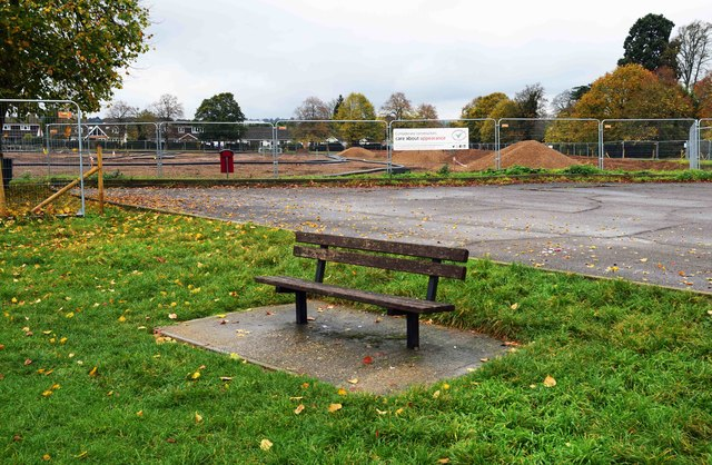 Seat by the car park in Gossmore Recreation Ground, Marlow, Bucks