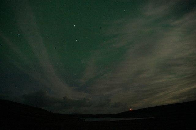 Aurora over Loch of Cliff at Baliasta