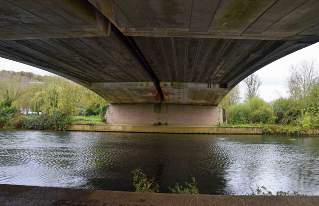 River Thames under Marlow Bypass bridge, Marlow, Bucks